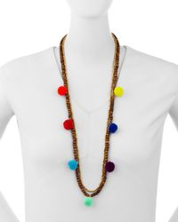 Panacea | Metallic Double-strand Beaded Pompom Necklace | Lyst