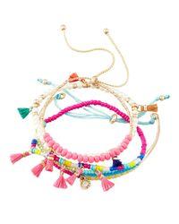 Panacea - Multicolor Beaded Tasseled Mini Stretch Bracelets - Lyst
