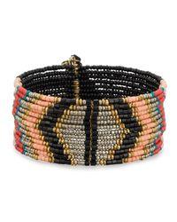 Panacea | Multicolor Wide Beaded Cuff Bracelet W/ Tassels | Lyst