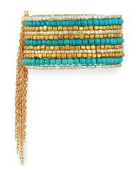 Panacea | Blue Wide Beaded Cuff Bracelet W/ Chain Fringe | Lyst