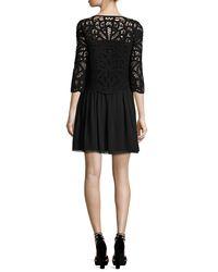 Joie - Black Jordie Knotted Soutache Silk-blend Dress - Lyst