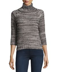 Three Dots | Multicolor Turtleneck Tweed-knit Sweater | Lyst