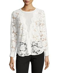 Neiman Marcus - White Lace Center-mesh Long-sleeve Top - Lyst