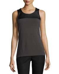 NIC+ZOE | Gray Chalet Faux-leather Trim Top | Lyst