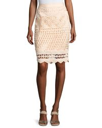 Kendall + Kylie - Natural Crochet-overlay Pencil Skirt - Lyst