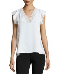 Rebecca Taylor | White Flutter-sleeve Chiffon Tank | Lyst