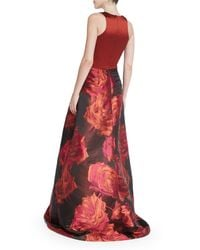 THEIA - Multicolor Sleeveless Combo Floral-skirt Ball Gown - Lyst