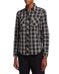 Michael Kors | Black Plaid Patch-pocket Shirt | Lyst
