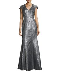 THEIA | Cap-sleeve Metallic High-slit Gown | Lyst