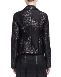 Donna Karan | Black Metallic Brocade Short Jacket W/ Belt | Lyst