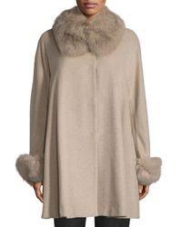 Belle Fare - Black Cape Coat With Fox Collar And Cuff - Lyst