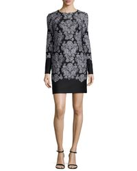 Nicole Miller | Black Long-sleeve Lace-print Sheath Dress | Lyst