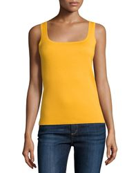 Michael Kors | Yellow Square-neck Cashmere Tank | Lyst