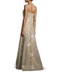 Rene Ruiz - Metallic Strapless Embroidered-splatter A-line Gown - Lyst