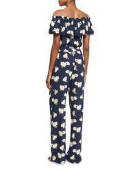 Michael Kors - Blue Off-the-shoulder Floral-print Jumpsuit - Lyst