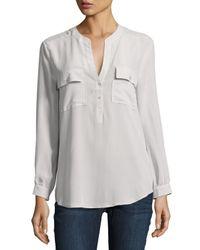 Joie | Black Pauline Long-sleeve Silk Blouse | Lyst