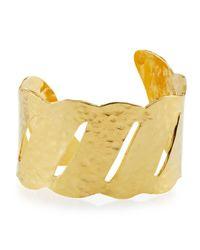 Devon Leigh | Metallic Thin Hammered Golden Wave Cuff | Lyst