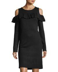 Catherine Malandrino - Black Cold-shoulder Sweaterdress - Lyst