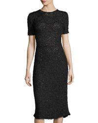 Zac Posen | Black Hand-looped Silk Dress | Lyst