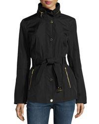 MICHAEL Michael Kors | Black Belted Snap-front Jacket | Lyst