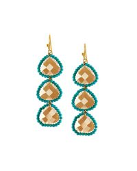 Panacea | Blue Linear Crystal Beaded Triple-drop Earrings | Lyst