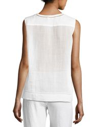 Vince - White Lace-inset Shell Top - Lyst