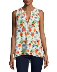 Joie   White Aruna Floral-print Sleeveless Silk Blouse   Lyst