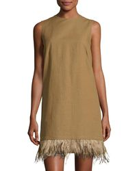 Brunello Cucinelli - Green Feather-hem Short Dress - Lyst