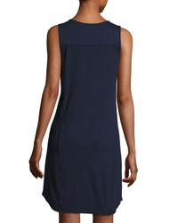 Three Dots - Blue Sleeveless Pocket Tee Dress - Lyst