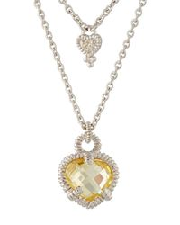 Judith Ripka | Yellow La Petite Diamond & Crystal Heart Double-strand Necklace | Lyst