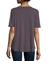 Allen Allen - Purple Half-sleeve High-low Tee - Lyst