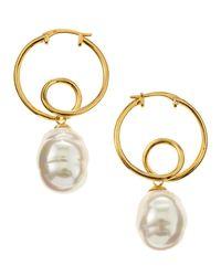 Majorica - Metallic Baroque Twisted Hoop Earrings - Lyst