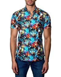 Jared Lang | Blue Graphic Ocean-print Short-sleeve Shirt for Men | Lyst