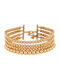Lydell NYC - Metallic Multi-row Golden Ball Choker Necklace - Lyst