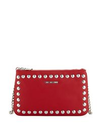 Love Moschino - Red Studded Faux-leather Wallet On A Chain - Lyst