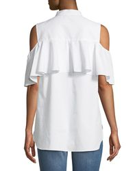 Vince Camuto - White Cold-shoulder Button-front Blouse - Lyst