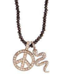Bavna - Black Beaded Spinel Necklace W/ Pave Diamond Pendants - Lyst