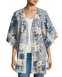 Johnny Was - Blue Laite Floral-print Cotton Kimono - Lyst