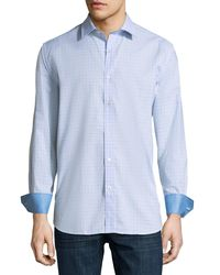 Bugatchi - Blue Checkered Classic-fit Sport Shirt for Men - Lyst