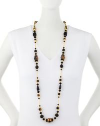 Jose & Maria Barrera - Long Black & Golden Beaded Necklace - Lyst