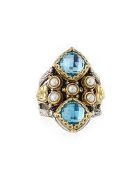Konstantino - Blue Amphitrite Double Cushion Topaz & Pearl Statement Ring - Lyst