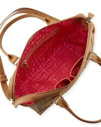 Elaine Turner - Natural Ros Washed Leather/linen Satchel Bag - Lyst