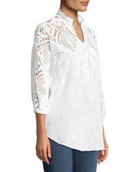 XCVI - White Jill Crochet-sleeve Peasant Blouse - Lyst