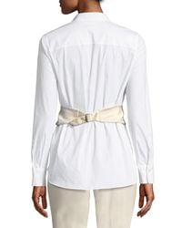 Brunello Cucinelli - White Silk-waist Plastron Blouse - Lyst