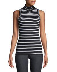 MICHAEL Michael Kors - Black Sleeveless Striped Turtleneck Sweater - Lyst