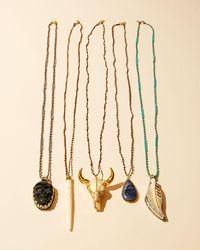 Native Gem - Green Long Beaded Longhorn Skull Pendant Necklace - Lyst
