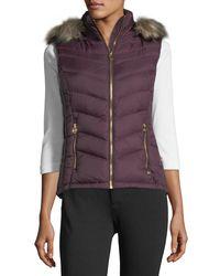 MICHAEL Michael Kors - Purple Faux-fur-trim Hooded Down Vest - Lyst