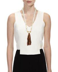 Akola - Multicolor Long Pearl & Java Glass Tassel Necklace - Lyst