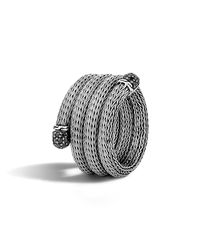 John Hardy - Classic Chain Silver Lava Coil Ring With Black Sapphire - Lyst