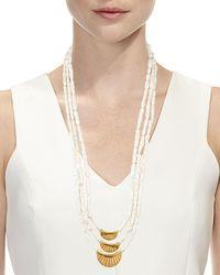 Devon Leigh - White Three-strand Stick Pearl Necklace - Lyst